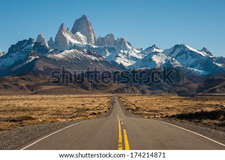 Road to El Chalten, Fitz Roy in background, Argentina - stock photo