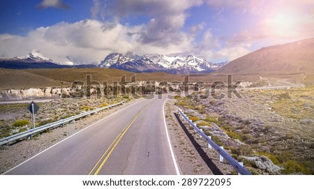 Road to El Chalten village, Argentina. - stock photo
