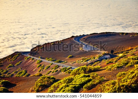 Road to El Teide Volcano at sunset in Tenerife, Canary island, Spain