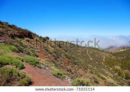 Road to El Teide volcano, Canaries, Tenerife. - stock photo