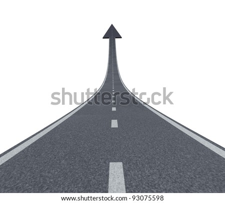 Road to financial success rise to the top and moving up with a sky is the limit symbol and a highway road rising up to the air with an arrow head pointing upward as a business successful concept. - stock photo