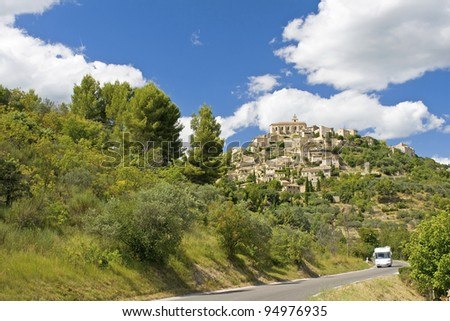 Road to Gordes, with RV. Provence. France. - stock photo