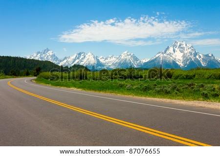 Road to Grand Teton National Park - stock photo