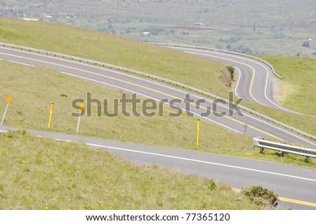Road to Haleakala Crater - Maui, Hawaii - stock photo