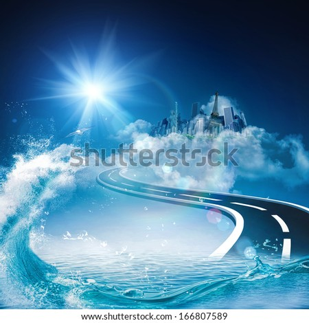 Road to heaven, abstract environmental backgrounds for your design - stock photo
