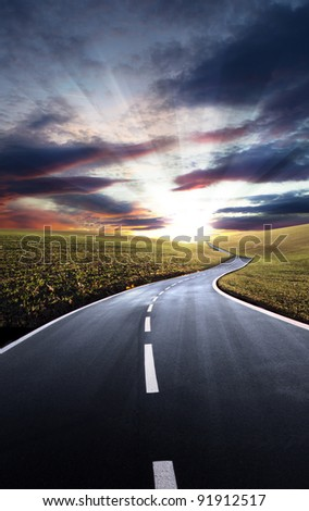 Road to hills - stock photo