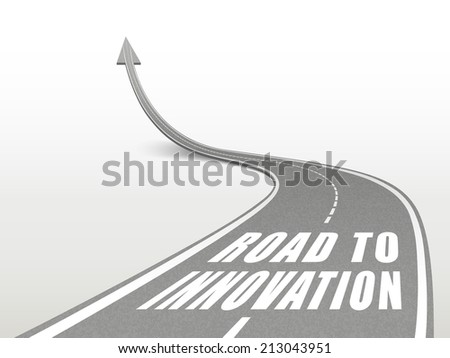 road to innovation words on highway road going up as an arrow - stock photo