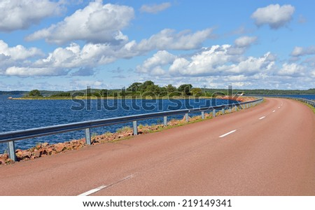 Road to islands in Baltic Sea - stock photo
