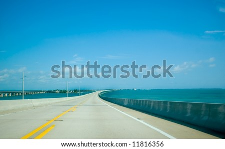 Road to Key West over Caribbean Blue Water - stock photo