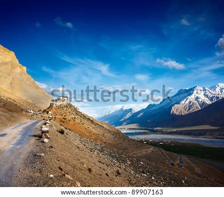 Road to Ki Monastery. Spiti Valley,  Himachal Pradesh, India - stock photo