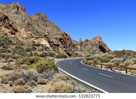 Road to leading to the Volcano Teide on Tenerife island, Canary Islands