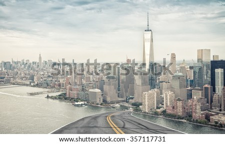 Road to Manhattan. Travel concept.