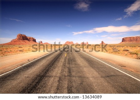 Road to Monument Valley, Arizona - stock photo