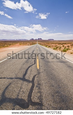 Road to Monument valley National Park - stock photo
