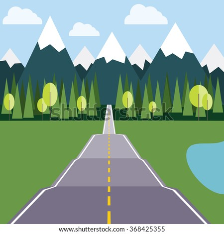 Road to Mountains. Wild Nature Landscape: Mountains with Ice Peaks, Fir Trees, Lake and Green Meadow. Digital background flat raster illustration. - stock photo