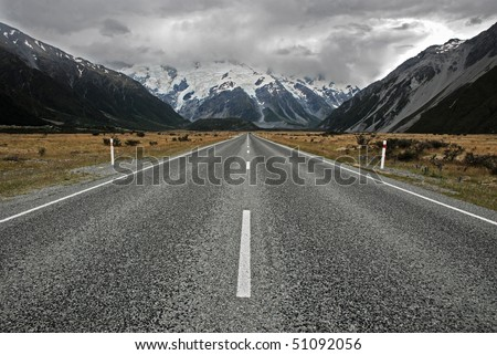 Road to Mt Cook, New Zealand - stock photo