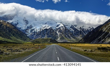 Road to Mt. Cook Village, New Zealand - HDR image - stock photo