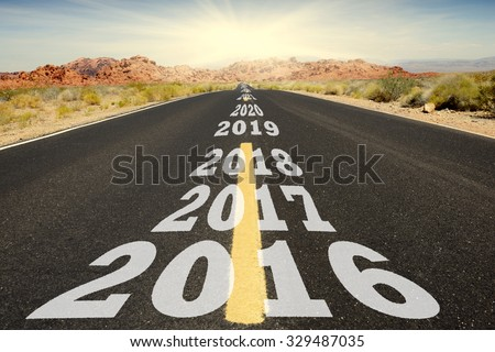 Road to New Year - stock photo