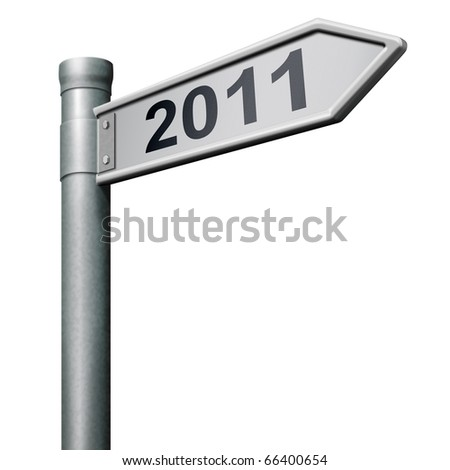 road to new year 2011 sign post
