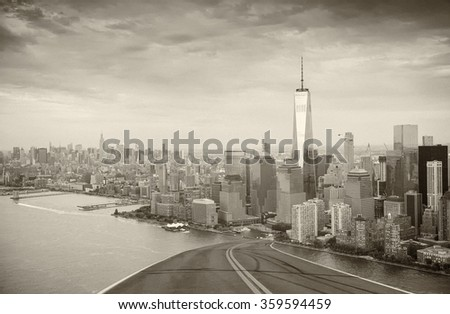Road to New York City. Holiday and travel concept. Black and white.