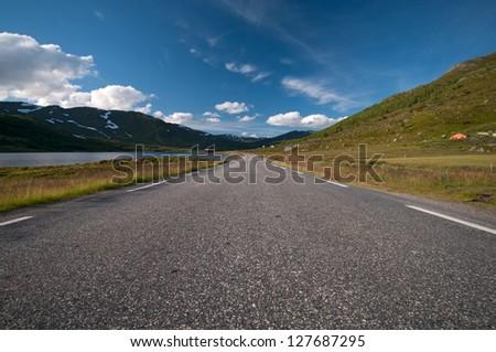 Road to Nordkapp/ Northcape, Norway, horizontal image - stock photo
