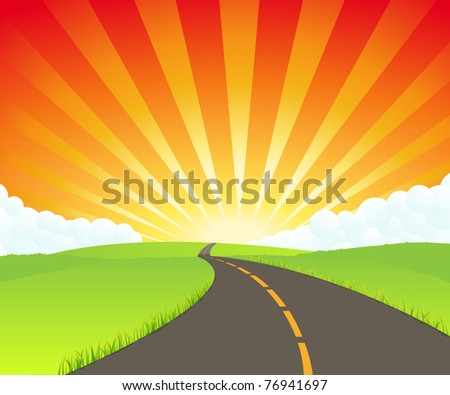 Road to Paradise/ Illustration of a road going to unknown destination