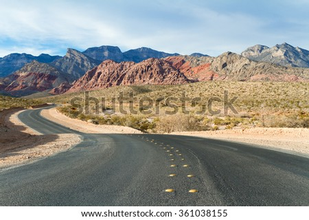 Road to Red Rock Canyon Conservation Area State Park, Nevada, USA