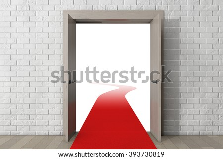 Road To Success. Door with Red Carpet in front of Brick Wall extreme closeup - stock photo