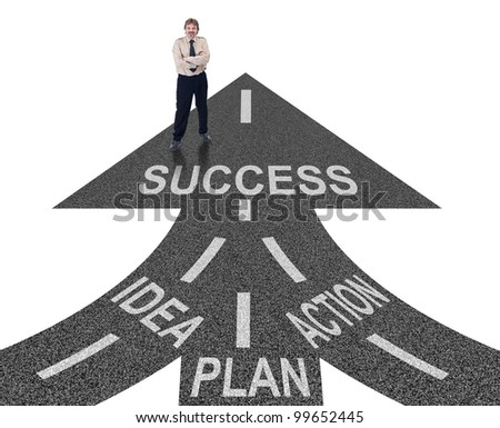 Road to success ingredients concept - idea, planning and action - stock photo
