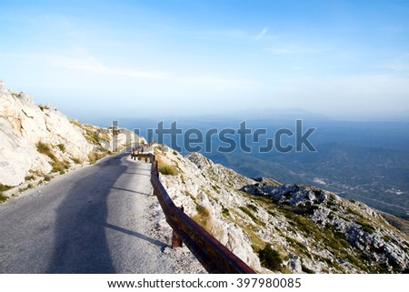 Road to sv. Jure peak in Biokovo mountains. - stock photo
