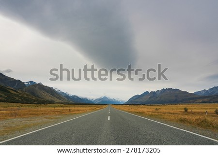 Road to the Aoraki Mount Cook National Park - stock photo