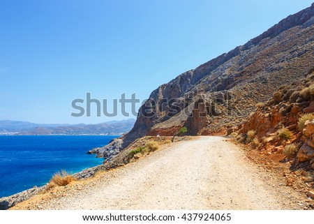 Road to the Balos Lagoon in Crete, Greece - stock photo