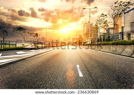 road to the bright future - stock photo