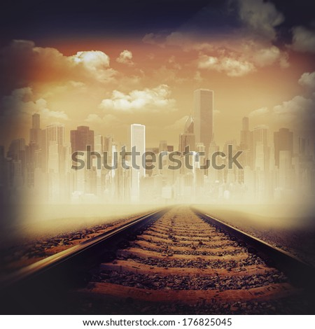 Road to the city. Abstract transportation backgrounds - stock photo