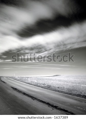 Road to the hill - stock photo