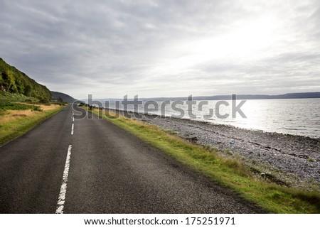 road to the horizon in Isle of Arran. Scotland  - stock photo