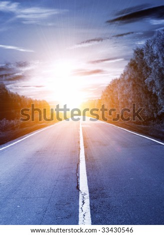 Road to the light - stock photo