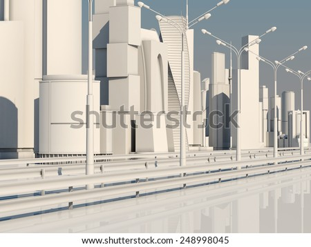 Road to the metropolis. City of the Future. - stock photo