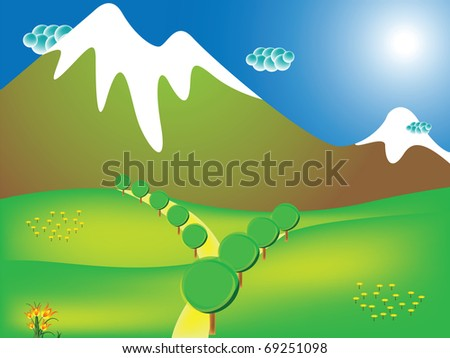 road to the mountains, abstract art illustration; for vector format please visit my gallery - stock photo