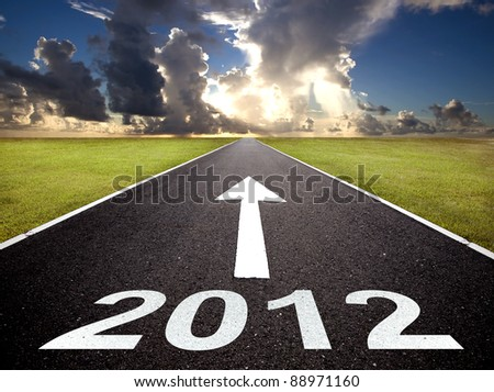 road to the new year 2012 and sunrise - stock photo