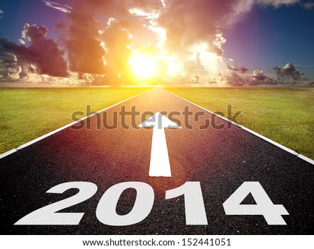 road to the 2014 new year and  sunrise background - stock photo