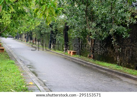 Road to the old walls - stock photo
