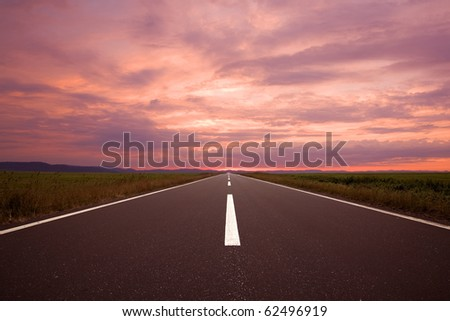 Road to the sun. - stock photo
