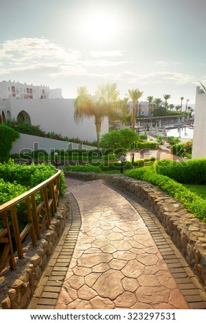 Road to the swimming pool in Egyptian hotel - stock photo