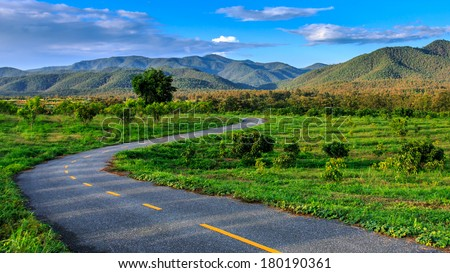 Road to the tropical forest, Chiang Mai, Thailand - stock photo