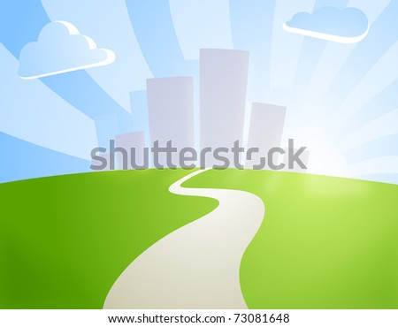 road towards the city behind the hill - stock photo