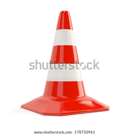 Road traffic cone with reflective bands isolated