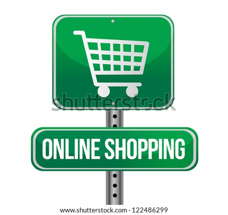 road traffic sign with an online shopping concept illustration design - stock photo