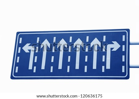 road traffic signs on a white background. - stock photo