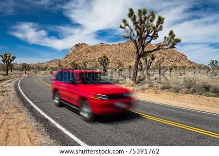 Road trip through Joshua Tree National Park, California. - stock photo